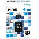 Карта памяти micro SDHC 4GB MIREX + SD адаптер class4 [1/10]