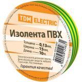 Изолента ПВХ 0,13*15мм Желто-Зеленая 10метров TDM [1/350]