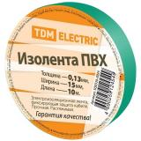 Изолента ПВХ 0,13*15мм Зеленая 10метров TDM [1/350]