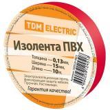 Изолента ПВХ 0,13*15мм Красная 10метров TDM [1/10/350]
