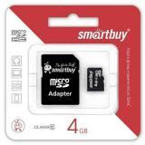 Карта памяти micro SDHC 4GB Smart Buy class10 + SD адаптер