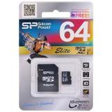 Карта памяти micro SDHC 64GB Silicon Power Class10 + SD адаптер