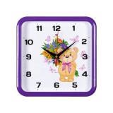 2223-103 (5) Часы настенные квадрат 22х22см, корпус фиолетовый