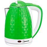 Homestar HS-1015 Чайник электрический, Мощность: 1500Вт, Обьем: 1,8 л, Двойной корпус (сталь внутри, пластик снаружи) зелено-белый [1/12]