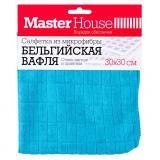 Master House Салфетка из микрофибры Бельгийская вафля 30x30см (Плотность: 250 гр/м2.) (оранжевый, синий) [1/50/200]