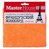 Master House Салфетка из микрофибры Французский жаккард (размер 30*30 см, плотность 250 гр/м2) (оранжевый, красный) [1/20/200]