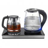 MAGNIT RMK-3709 Чайник электрический c заварником, Мощность: 1850-2200 Вт, Объем 2 л, Стекло [1/6?]