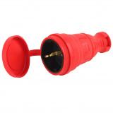 ЭРА R8-RED-IP44 Разъём каучуковый c/з  прямой 16A IP44 красный [1/25]