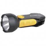 Ultraflash LED3828   (фонарь аккум 220В, черный/желт, 1LED 0,5Вт, SLA, пласт, склад. вилка, коробка) [1/5]