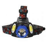 Ultraflash E1334 (фонарь налоб акк 3,7В, синий /черн, 3LED, 4 Ватт, фокус, 2 ак 4 реж, метал, бокс) [1/50]