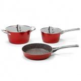 Galaxy GL 9515 (красный) Набор посуды 5предметов :  кастрюля с крышкой  24*12,5 см (4,6л ), ковш с крышкой 20*10,5см (2,7л),сковорода 24*5,3см [1/4]