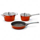 Galaxy GL 9515 (оранжевый) Набор посуды 5предметов :  кастрюля с крышкой  24*12,5 см (4,6л ), ковш с крышкой 20*10,5см (2,7л),сковорода 24*5,3см [1/4]