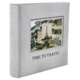 Фотоальбом 100ф 15X21см, бум.карм.с мемо, книжн.пер-т, Time to travel [1/12?]