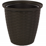 PlastRep Кашпо Rattan D 185мм/3 л с внутренним горшком 1,5 л горький шоколад [1/8]