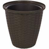 PlastRep Кашпо Rattan D 210мм/4,5 л с внутренним горшком 2,25 л горький шоколад [1/8]