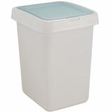 "PlastRep Контейнер для мусора ""Квадра"" с крышкой Push to Open 25л белый [1/4]"