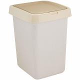 """PlastRep Контейнер для мусора """"Квадра"""" с крышкой Push to Open 25л кофейный [1/4]"""