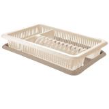 PlastRep Сушилка для посуды с поддоном 1-а ярусная Bono сливочный крем/капучино [1/5]