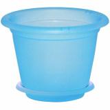 PlastRep Горшок для орхидеи D 190 mm, 2,2л с подставкой №3 голубой прозрачный [1/40]