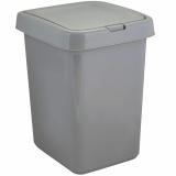 "PlastRep Контейнер для мусора ""Квадра"" с крышкой Push to Open 25л серый [1/4?]"