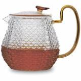 BACKMAN BM-0319 Чайник заварочный, 1000 мл, корпус и крышка из термостойкого боросиликатного рельефного стекла. Возможность использования на плите. [1